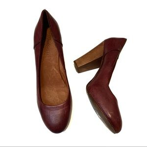 Madewell Frankie Pumps Burgundy Leather Heels